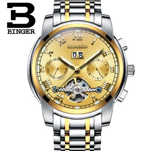 Large Dial Stainless Steel Man Big Mechanical Watch Date Display Famous Brand Gold Men Automatic Binger Tourbillon Watches