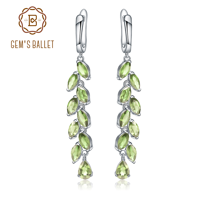 GEM S BALLET 5 3Ct Natural Green Peridot Gemstone Earrings 925 Sterling Sliver Leaves Branches Drop