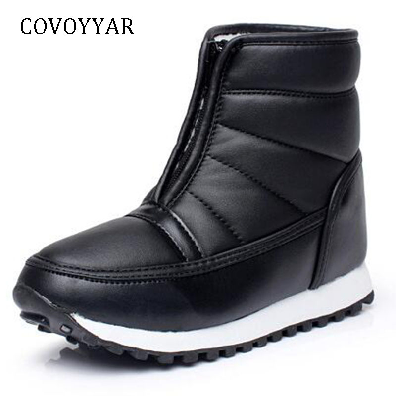 COVOYYAR Fur Padded Women Boots 2019 Cold Weather Waterproof Warm Ankle Snow Boots Front Zip Anti-slip Casual Shoes WBS987