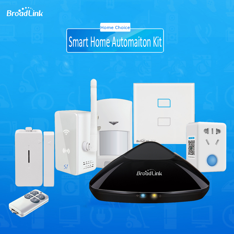 Smart home Automation Kit,Broadlink RM2 Rm Pro Universal Intelligent controller,Broadlink S1/S1C ,Smart Switch TC2 2gang,SPmini3 2017 new arrival broadlink s1c s1 smartone alarm