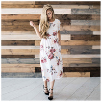 TFGS Fashion Summer Dresses Short Sleeves Casual Dress Flower Print O Neck Women Dresses White S