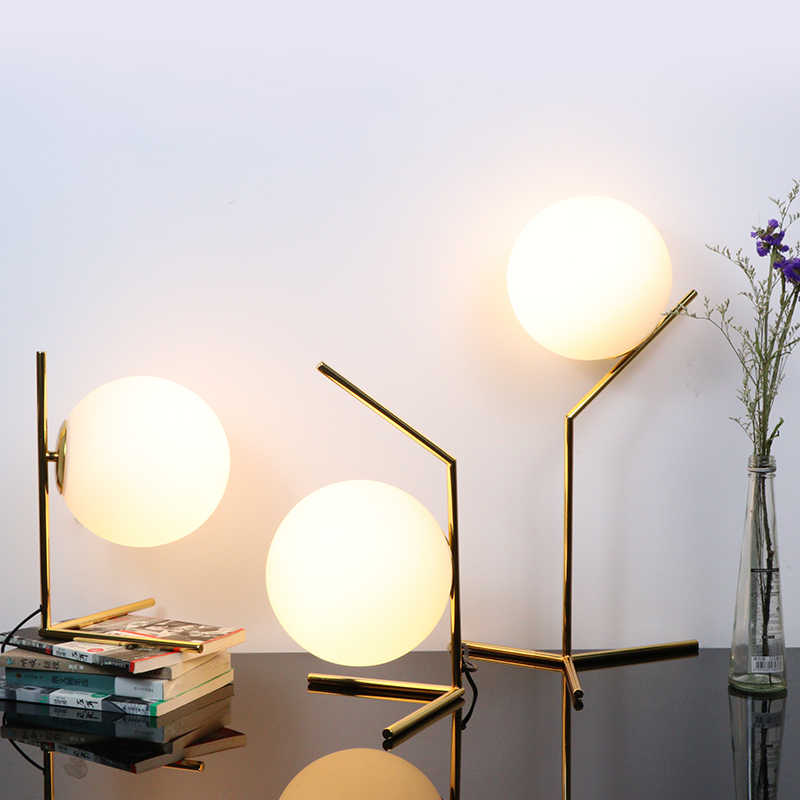 Bedroom Table Lamp Reading Light Living Room Decoration Table Light Nordic style Iron Plating Milk White Glass Lampshade E27