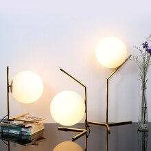 Slaapkamer Tafellamp Leeslamp Woonkamer Decoratie Tafel Licht Nordic stijl Ijzer Plating Melk Wit Glas Lampenkap E27