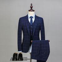 3 предмета пользовательские абсолютно Для Мужчин's Костюмы синий плед Стиль мода Slim Fit Пиджаки для женщин Высокое качество; для свадьбы Пром