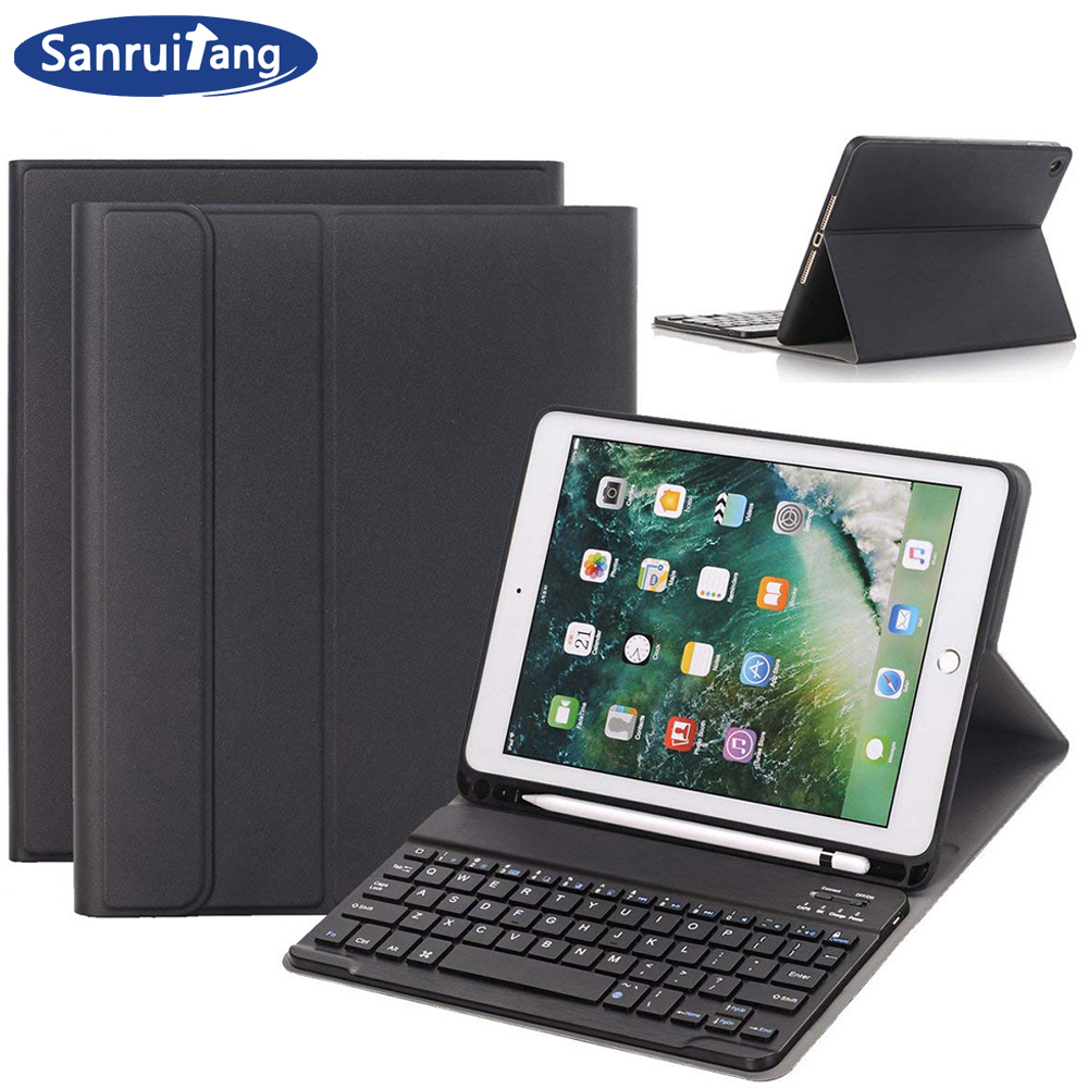Bluetooth Wireless Keyboard Case For iPad 9.7 2018 2017 With Pencil Holder Smart PU Leather Full Cover For iPad 6th 5th cases