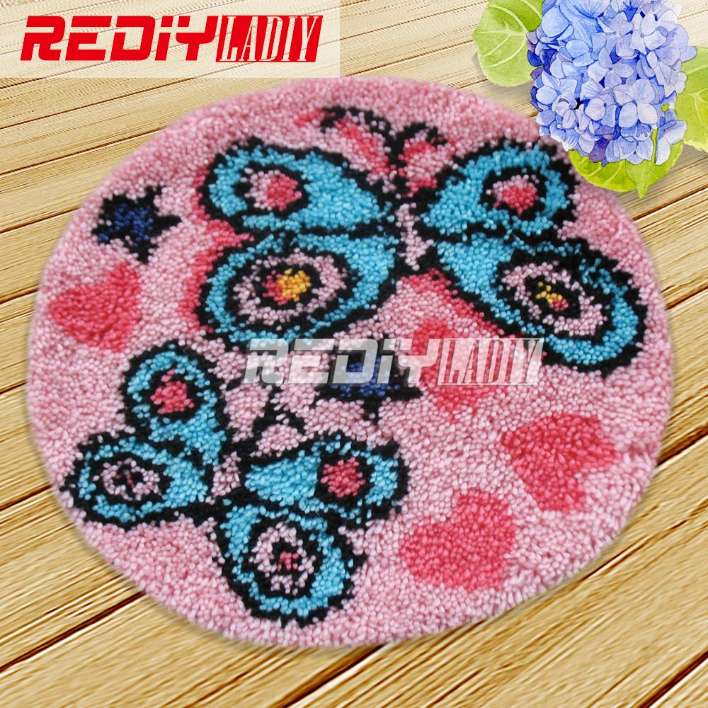 Diy Carpet Rug Latch Hook Kits Acrylic Yarn Embroidery Floor Mat  Butterflies Pre Printed Canvas Wall