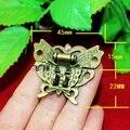 10 unids 45 * 37 MM de aleación de zinc mariposa hebilla cerrojo cerrojo caja de vino de madera con hebilla de la cerradura candado antiguo Hardware