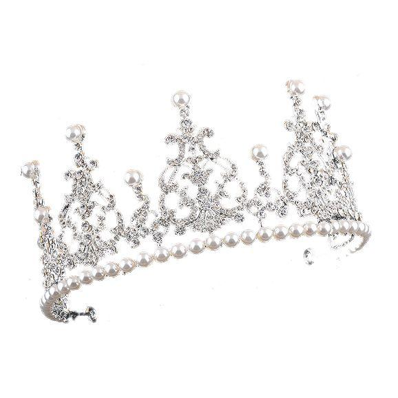 1 silver + white alloy artificial pearl bride crown bride hair ornament size: high 7.5cm