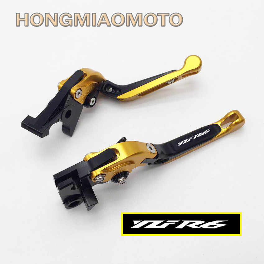 With Logo CNC Motorcycle Foldable Extending Brake Clutch Levers For Yamaha  YZF R6 1999 2000 2001 2002 2003 2004 (F-14/Y-688)