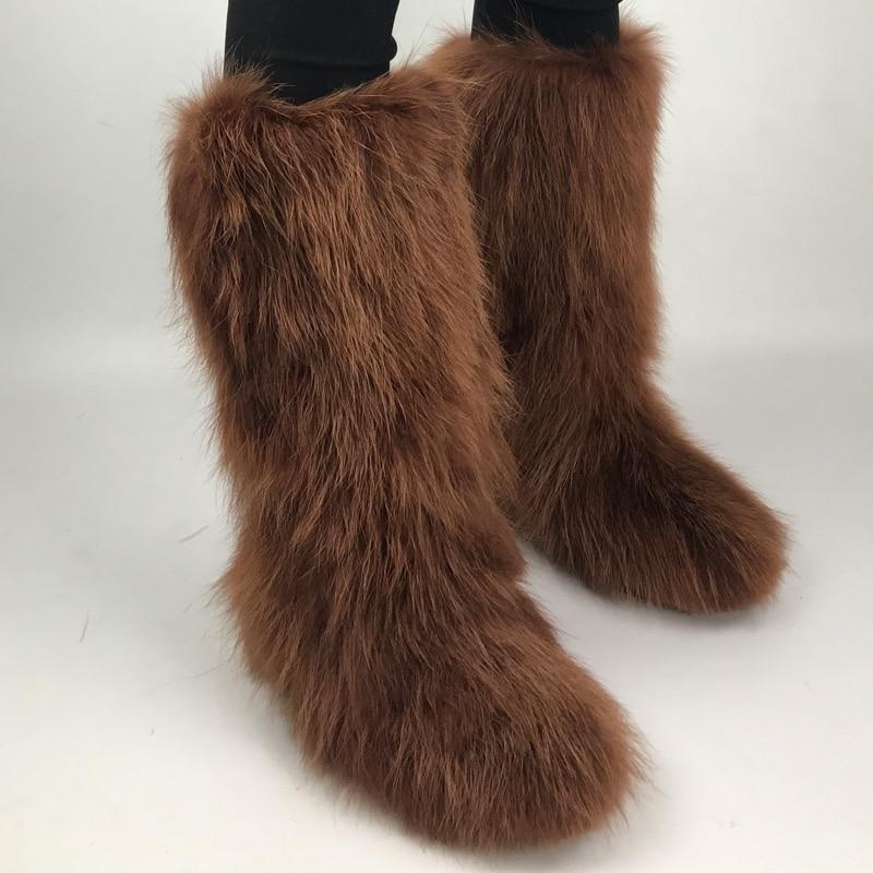 Micholediys 2018 New Arrival Handmade Winter Fox Fur Blue Snow Boots Eskimo Botas Antiskid Warm Cylinder increased plush shoes micholediys winter new arrival handmade