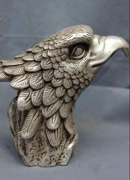 """6 """"chine blanc cuivre argent Feng Shui mal faucon faucon aigle tête d'oiseau Statue d'art"""