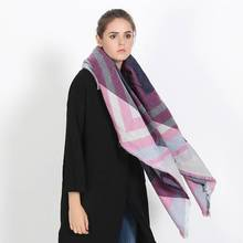 2016 Winter Women Tartan Foulard Luxury Brand Striped Patchwork Blanket Scarf Thick Pattern Scarf YJWD778