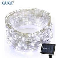 200 leds 22m Led bande lumière fée lumière décoration de noël lumière solaire alimenté bande de lumière avec fil de cuivre pour jardin Patio