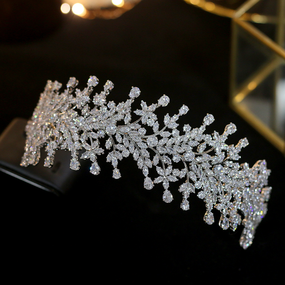 Luxury fashion wedding zircon ladies bridal hair tiara bridal crown princess crown accessories