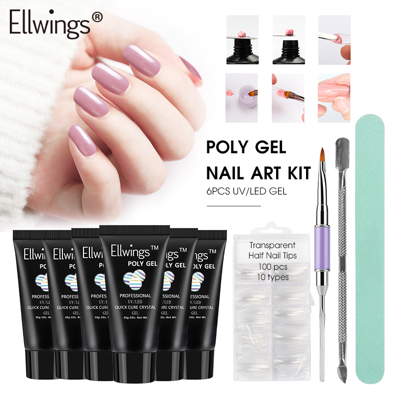 Ellwings Poly Gel Varnish Kits Fast Building Finger Extension Crystal Jelly UV Builder Gel Lacquer for Nail Art Manicure Set