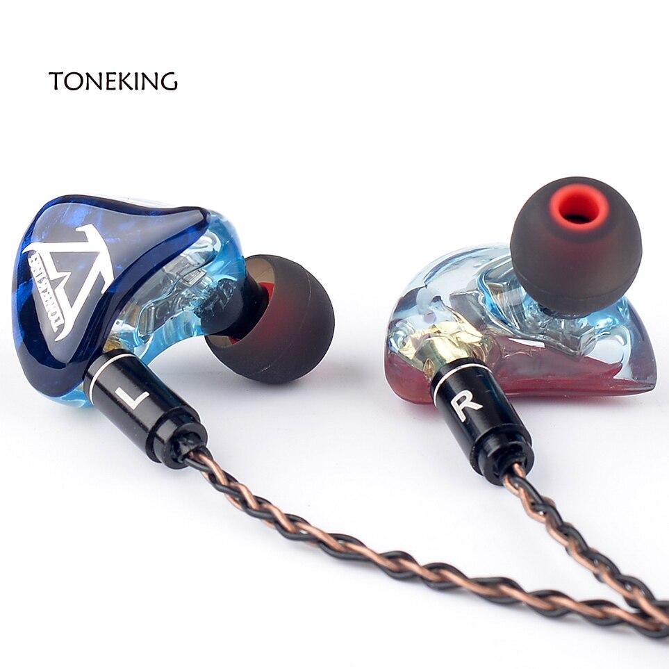 TONEKING T3 3BA fait sur commande bricolage dans l'oreille écouteur 3 Armature équilibrée HIFI moniteur écouteurs MMCX 8-Core cuivre argent câble mixte - 3
