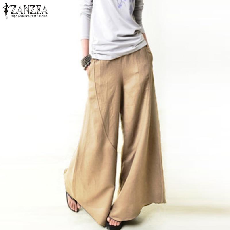 2018 ZANZEA Autumn Women Elastic Waist Pockets Work OL Pantalon Loose Flare Palazzo Trousers Casual Elegant   Wide     Leg     Pants