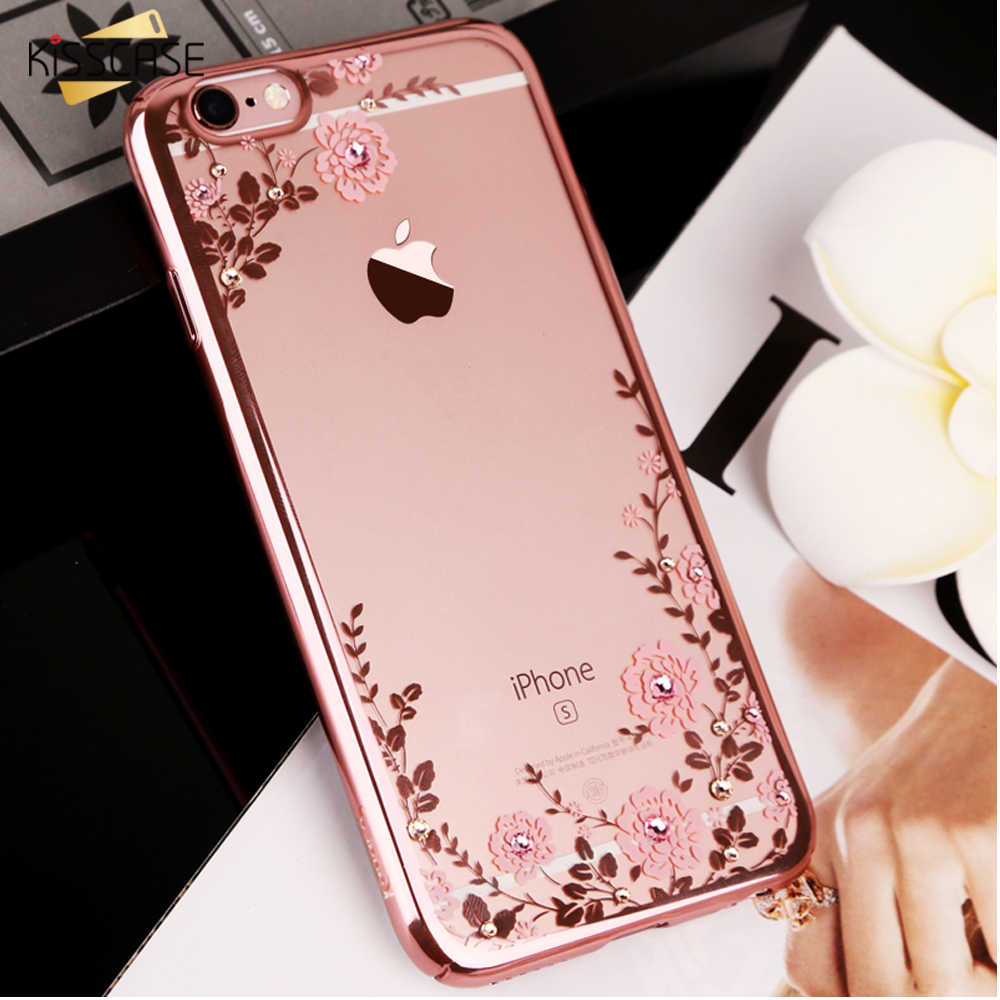 KISSCASE Floral Patterned Case For iPhone 7 6 6s 8 Plus XS Max XR X litter Bling Girly Phone Cases For iPhone 11 Pro Max 5S Case