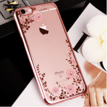KISSCASE Floreale Modellato di Caso Per il iPhone 7 6 6s 8 Più XS Max XR X lettiera Bling Girly Del Telefono custodie Per il iPhone 11 Pro Max 5 5S Caso(China)