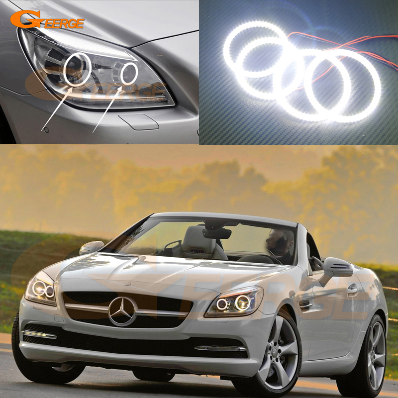 For Mercedes Benz SLK55 SLK250 SLK350 2012 2013 2014 2015 Xenon Headlight Excellent Ultra bright smd led Angel Eyes kit auto fuel filter 163 477 0201 163 477 0701 for mercedes benz