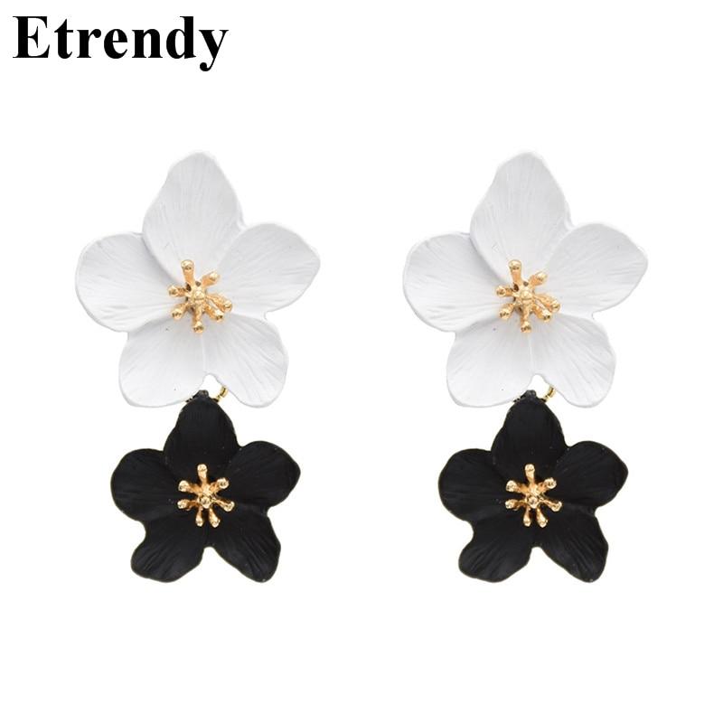 Мода цветок серьги для женщин 2019 двухслойные себе Белый Черный Pendientes вечерние партии Bijoux интимные аксессуары купить на AliExpress