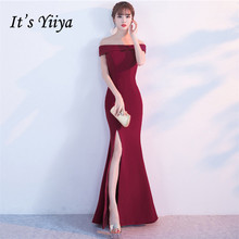 Its Yiiya evening gowns Elegent Strapless Short sleeves Zipper Party dresses Floor-length Royal red Trumpet Prom dress C214