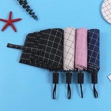 Portable Sunny and Rainy Umbrella Lightweight Plaid Printed Three-folding Non-automatic for Women