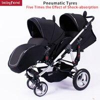 Babyfond близнецы коляска свет Портативный складывая две тележки отправить бесплатные подарки несколько режимов для верховой езды два babys strolly