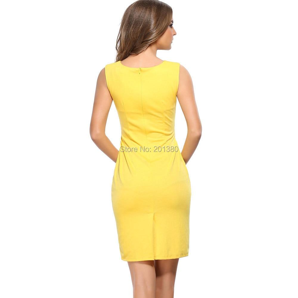 2018 metal buckle V-neck New Summer Empire Fashion Solid Sleeveless Womens Dress Slim Work Dresses Plus size
