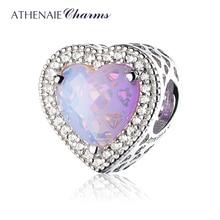 ATHENAIE 925 Sterling Silber Radiant Herzen Charms Perlen Pflastern Opalescent Rosa Kristall & Clear CZ Fit Armbänder Frauen Weihnachten