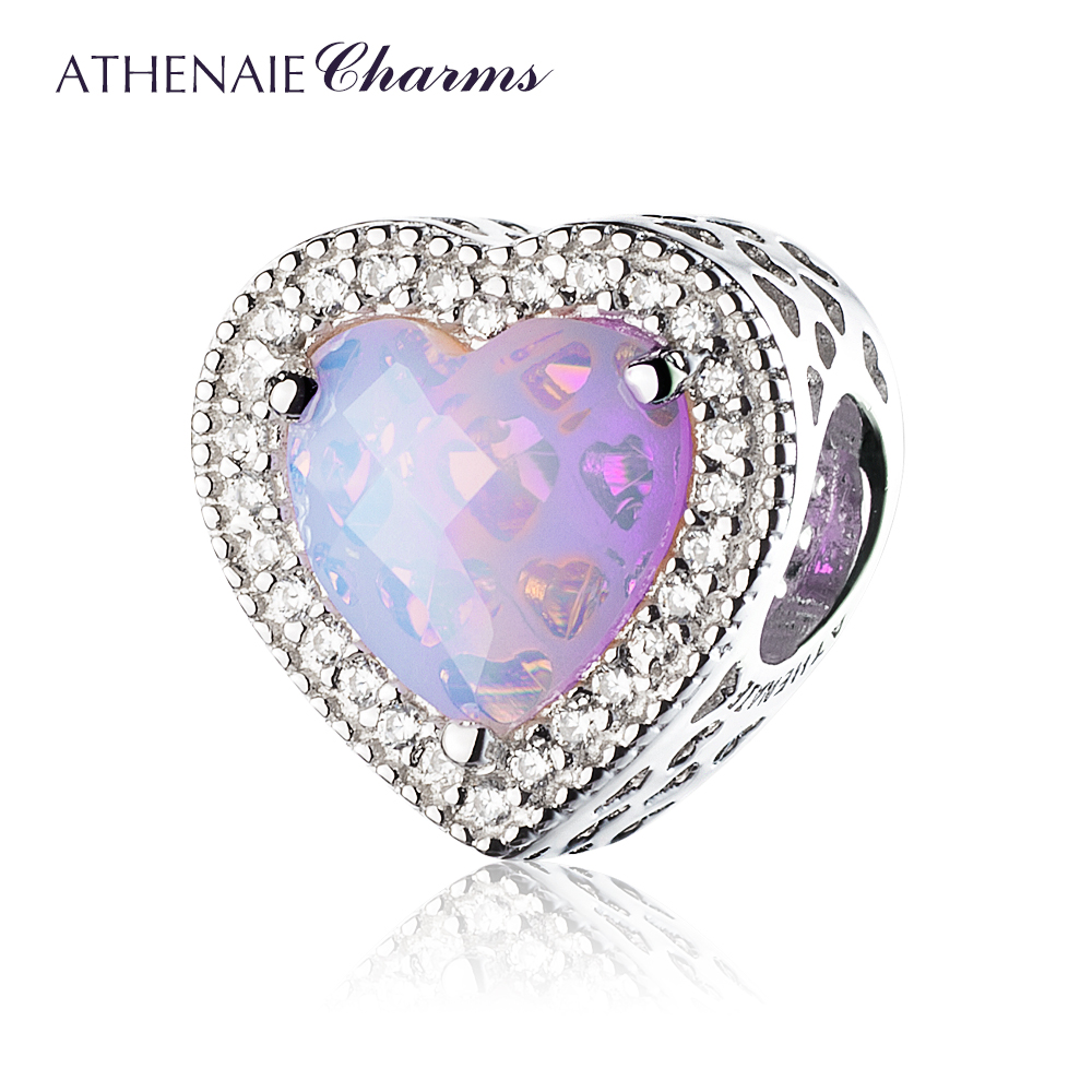 ATHENAIE 925 Sterling Silver Radiant Hearts Charms Beads Pave Opalescent Pink Crystal & Clear CZ Fit Bracelets Women Christmas