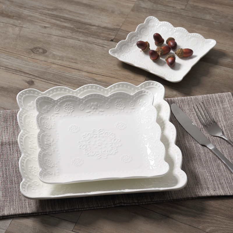 2016 White Lace Bone China Square embossed Dishes \u0026 Plates ceramic tableware dessert/fruit /cake plate-in Dishes \u0026 Plates from Home \u0026 Garden on ... & 2016 White Lace Bone China Square embossed Dishes \u0026 Plates ceramic ...