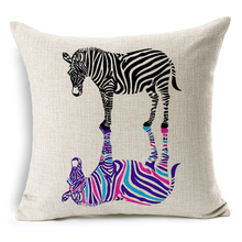 High Quality Zebra Inverted Image Linen Cotton Cushion Cover Creative Decoration for Sofa Car Hot Decorative Throw Pillows Case