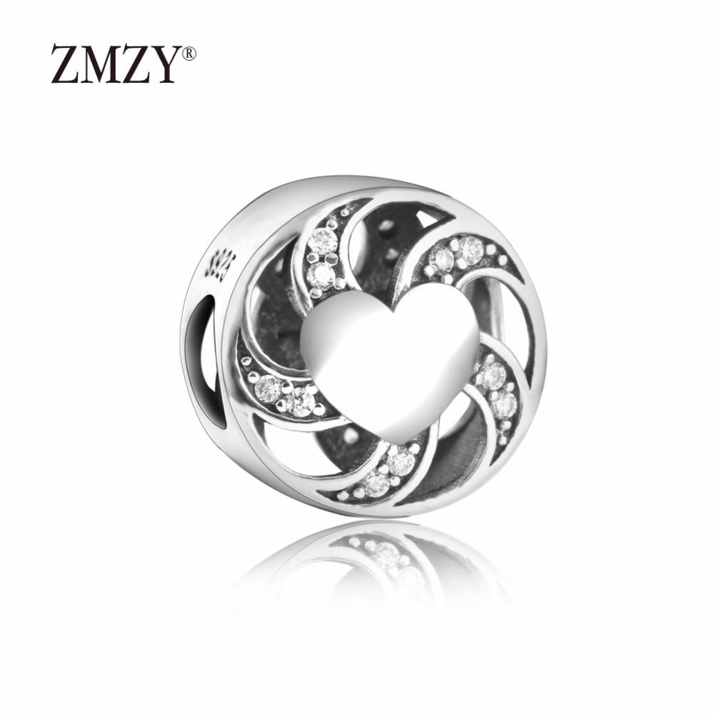 ZMZY Original 925 Sterling Silver Charm with Clear Cubic Zirconia Beads Fits Pandora Charms Bracelets Women Jewelry