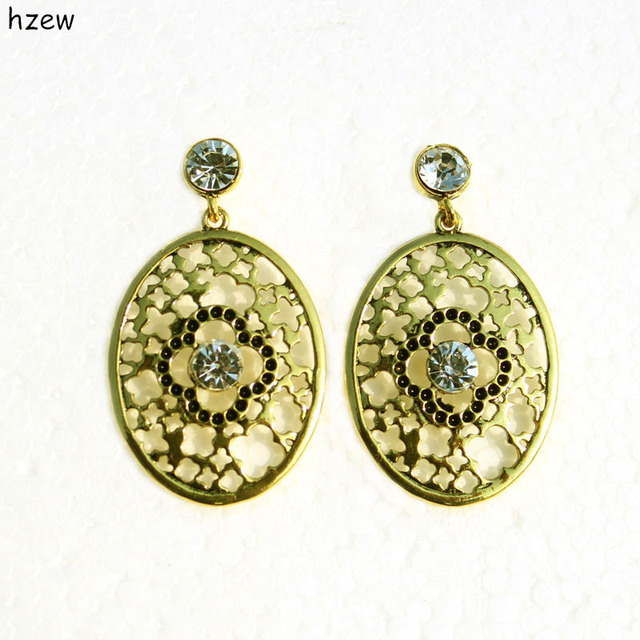 Hzew Cute Oval Ancient Gold Simple Earrings Clover Earring