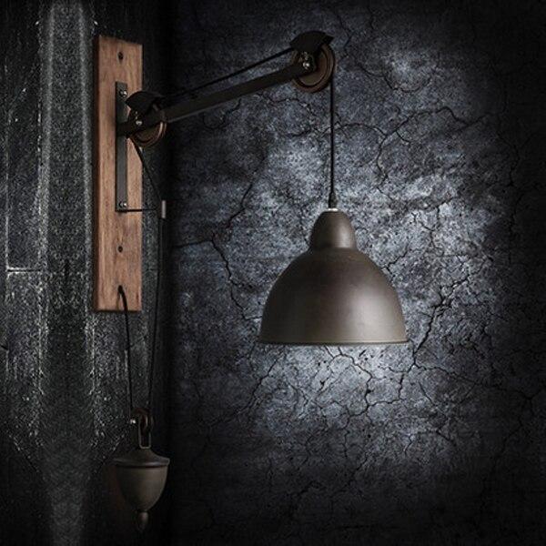 Кантри Стиль Настенные легкой промышленности Ретро Лифт выдвижной шкив бра освещения кафе свет