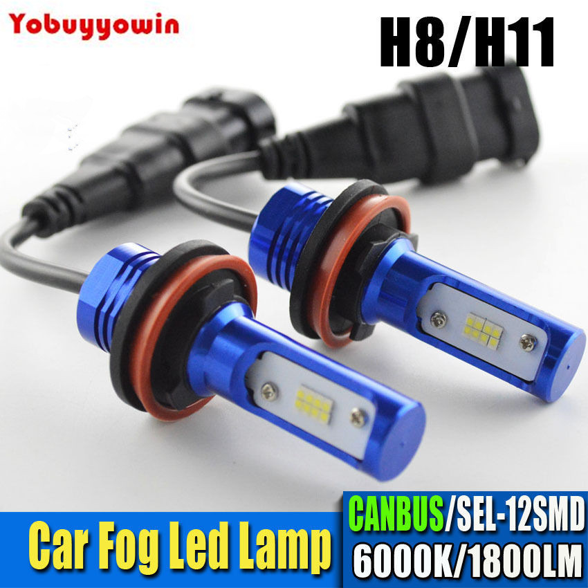 2x High Power 16*5W Samsung Chips H11 H8 Super Bright 6000K Xenon White LED Lights Bulbs for Replacing Fog Light Lamps Canbus