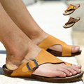 2017 Men's Genuine Leather Flip Flops Beach Sandals Slippers For Men Summer Style Shoes Sandalias Size:39-44