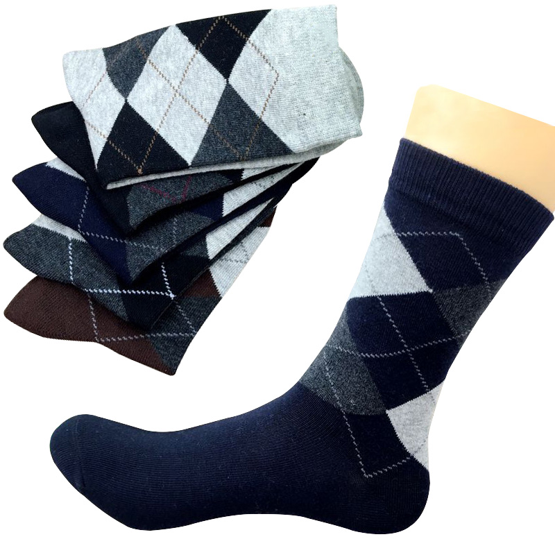 5 Pairs Autumn Winter High Quality Men Business Cotton   Socks   For Man Diamond Plaid Long   Socks   Male Crew   Sock   Meias Calcetines
