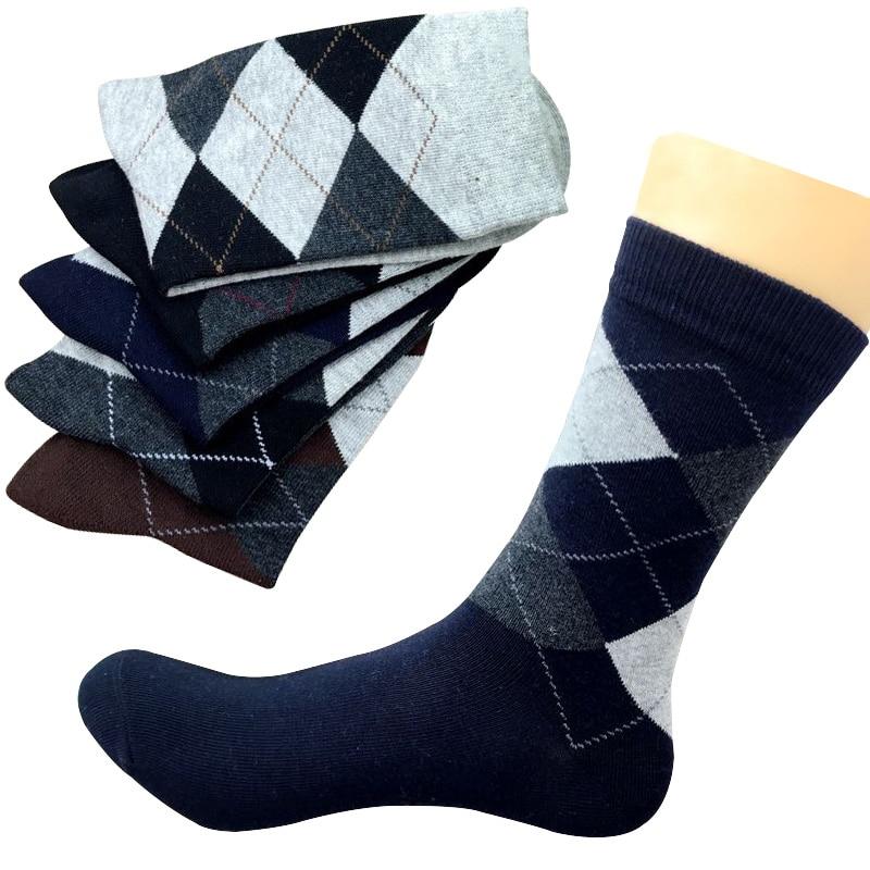 5 Pairs Autumn Winter High Quality Men Business Cotton Socks For Man Diamond Plaid Long Socks Male Crew Sock Meias Calcetines