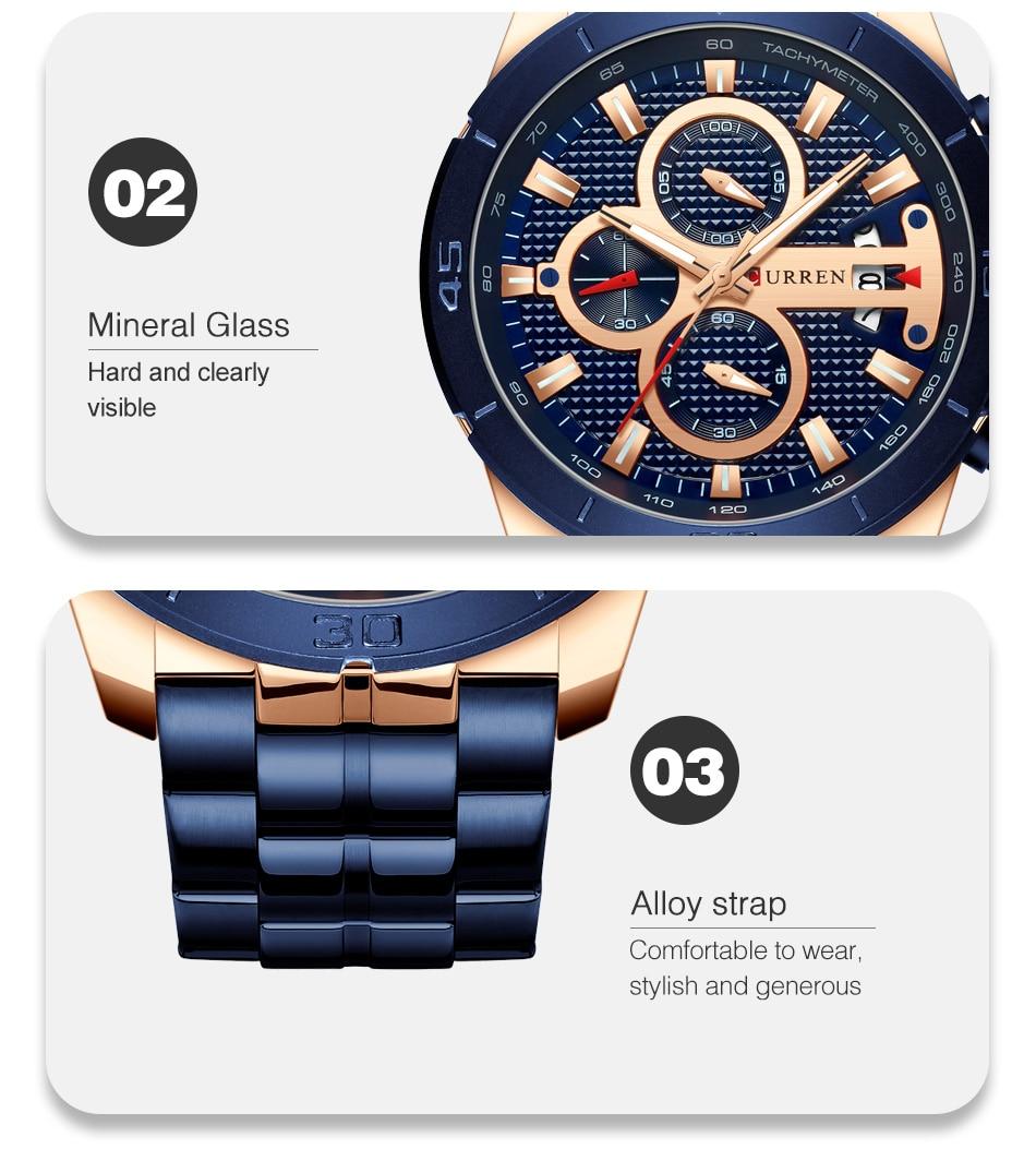HTB1HWMDU4jaK1RjSZKzq6xVwXXaR CURREN Men Watch Luxury Watch Chronograph
