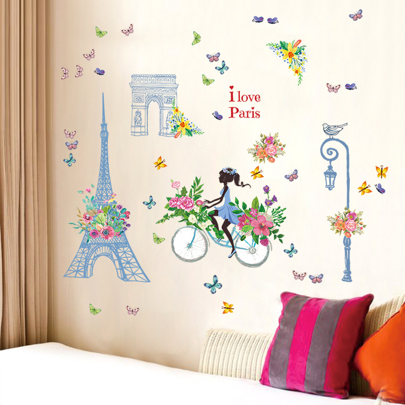 Blue tower ride girl large wall stickers home decor living room decal diy art mural wallpaper removable wall sticker in Wall Stickers from Home Garden