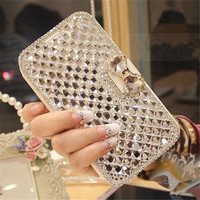 For IPhone 5 5S 6 6S 7 Plus Luxury Fashion Crystal Colorful Rhinestone Silk PU Leather