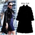 Diseño único otoño invierno nieve Rabbit Fur Coat mujeres 2015 calle moda de las señoras elegantes debe tener negro caliente Trech abrigos de pieles reales