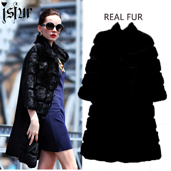 Buy Unique Design Fall Winter Snow Rabbit Fur Coat Women 2015 Street Fashion