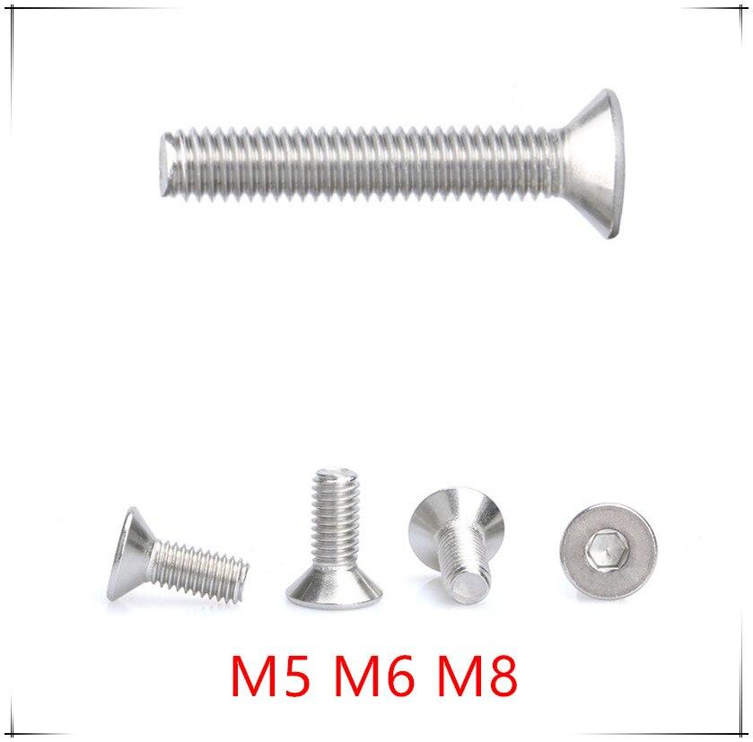 M3*4-M3*60 Hex Flat Head Screws 304 SS A2 Countersunk Bolts M4*6-M4*80