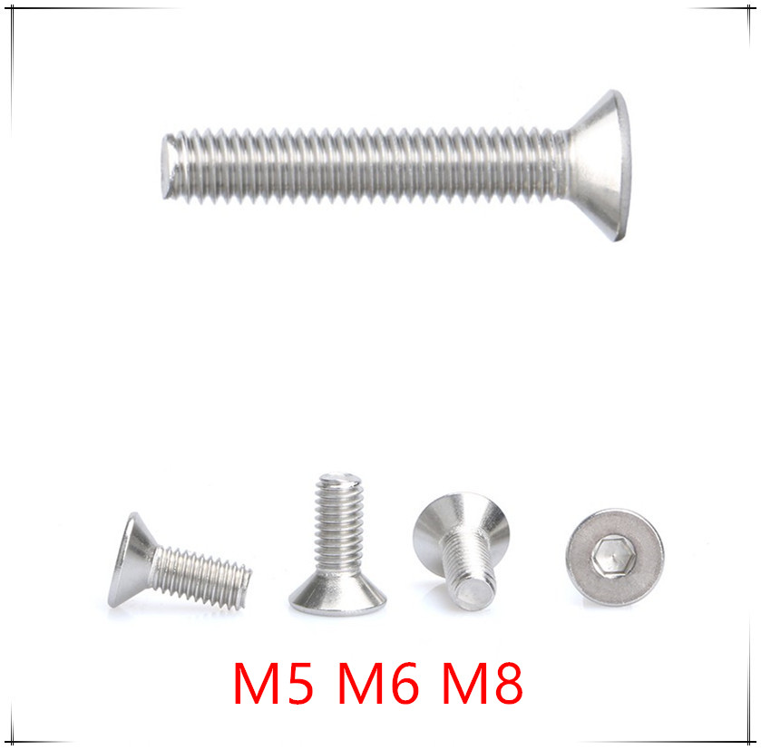 Pack of 10 M5*8mm Countersunk Flat Head Hex Socket Stainless steel Screw Bolt