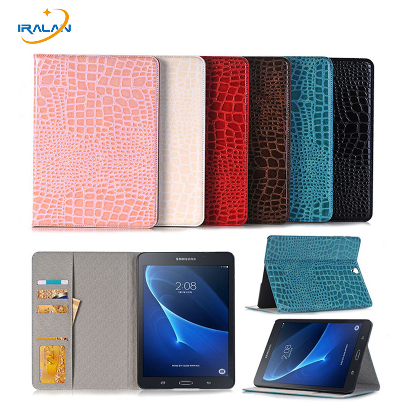 New Hight quality Crocodile Leather Stand Flip Case For Samsung Galaxy Tab S3 9.7 T820 T825 Tablet Cover with Card Slot+film+pen mooncase senior leather flip wallet card slot bracket back чехол для cover samsung galaxy a7 браун