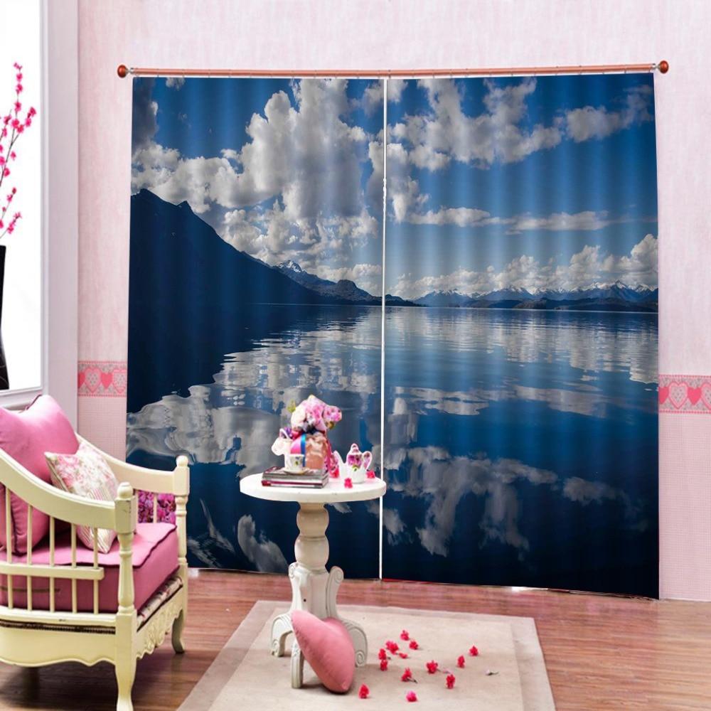 Lakeside nuages blancs 3D rideau impression Blockout salon chambre fenêtre rideaux personnalisés