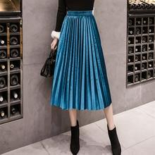 2019 Autumn Winter Velvet Skirt High Waisted Skinny Large Swing Long Pleated Skirts Metallic 3 Colors Plus Size 2XL Midi Saia